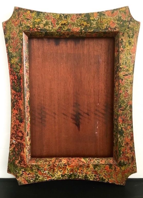 A wonderful folk art handcrafted Edwardian picture frame in mahogany with a multicoloured paint finish. The frame is made from a single piece of mahogany so there are no corner joints,the back cover is also made from mahogany. The frame is 40.5 x 35cm at its widest points,the picture area is 28 x 23cms and the original glass is present. Whilst i've left it as a picture frame it could easily accomodate a mirror.  Postage - please select large parcel £6