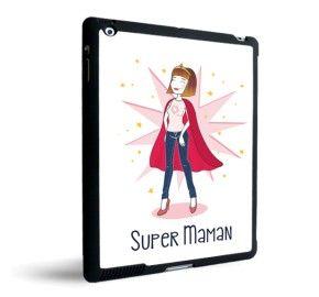 coque ipad super maman black