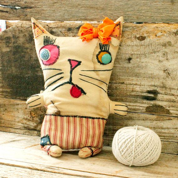 Primitive Cloth Doll Cat Penny by littleblackcrow on Etsy, $55.00