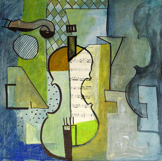Cubist Painting Cubism Art   Atraction – original cubist painting of M.E. Ologeanu in a live ...