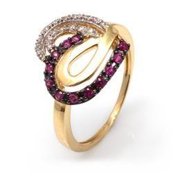 Anel Coração de Rubis e Diamantes em Ouro Amarelo