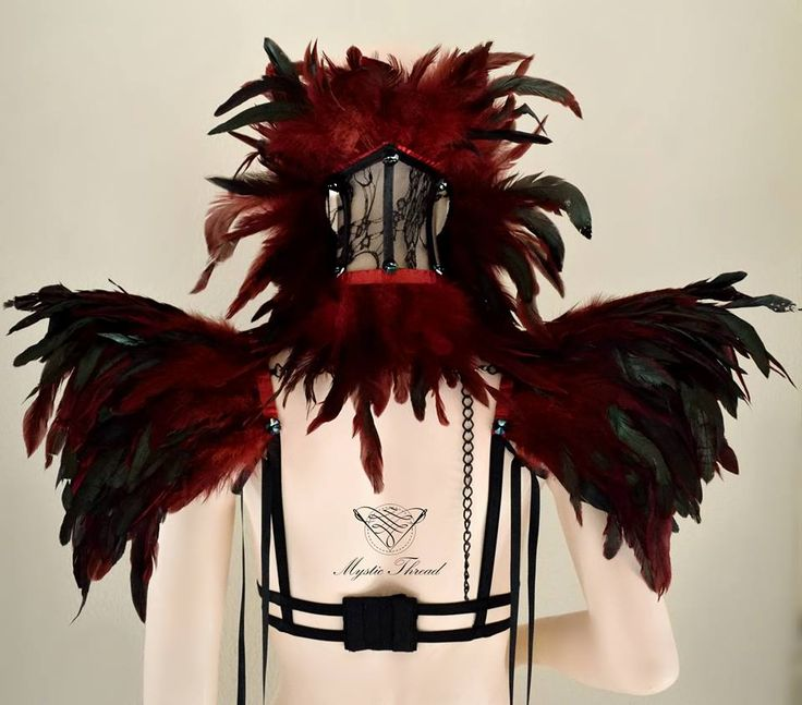 #Black #lace #neck #corset decorated with #red #black #feathers and #Preciosa #crystal #gems / #Red #black #feather #suspender #shoulder #pads decorated #Preciosa #crystal #gems by #mysticthread / e-shop: www.mysticthread.com