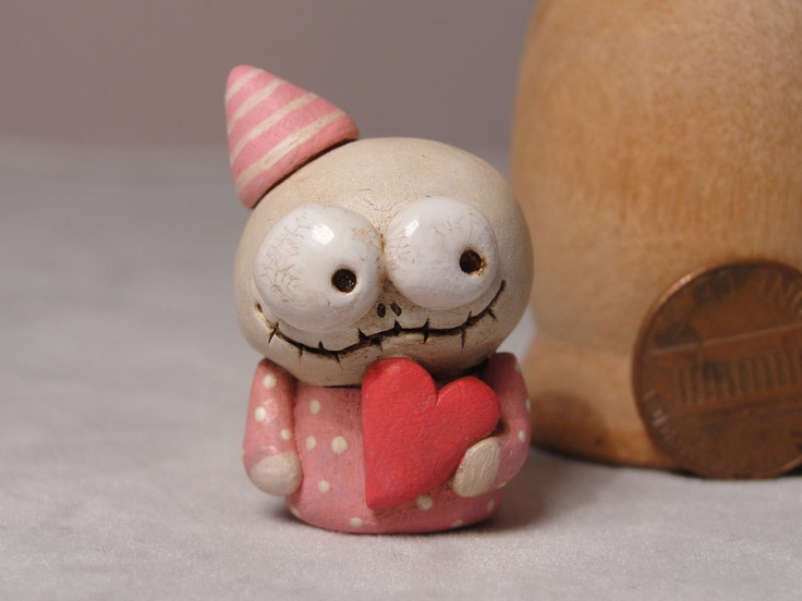 Miniature Love Skelly Skeleton with pink heart 1.25 inches tall signed original tiny art. $26.99, via Etsy.