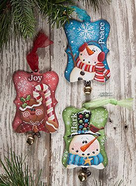 Extra Fancy Rectangle Ornaments from the book Laurie Speltz's Christmas Trimmings by Laurie Speltz. Book and wood ornaments available at www.ArtistsClub.com
