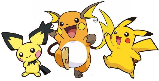 Pichu - Pikachu - Raichu #172 - #025 - #026 evolutions Pichu evolves into Pikachu