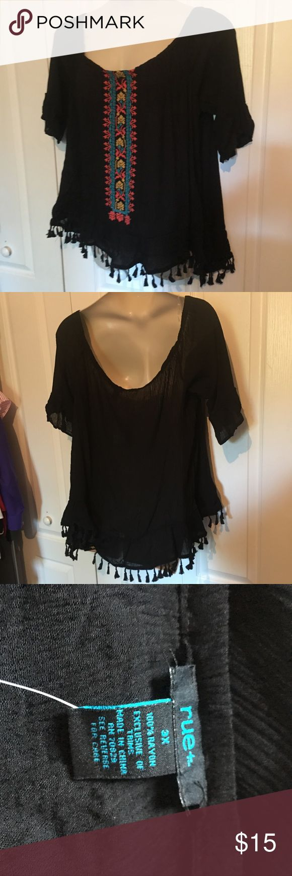 Plus Size Bardot top Embroidered rayon Rue 21 Tops Blouses