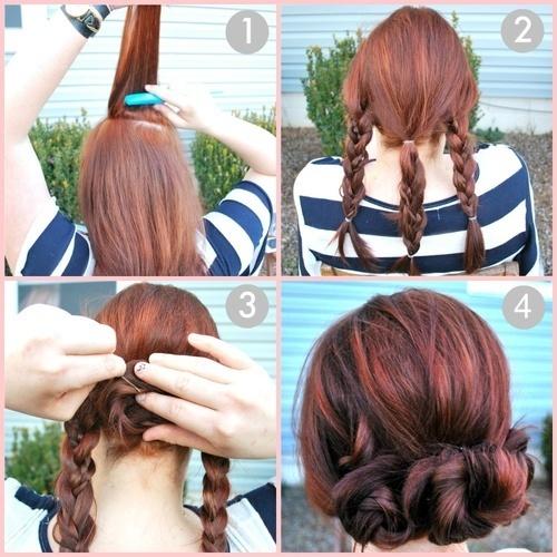 pretty and simpleHair Ideas, Up Dos, Braided Buns, Hairstyles, Braid Buns, Long Hair, Hair Style, Updo, Braids Buns