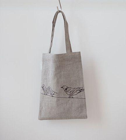 Fog Linen Baby Animal Print Tote Bag | Dove