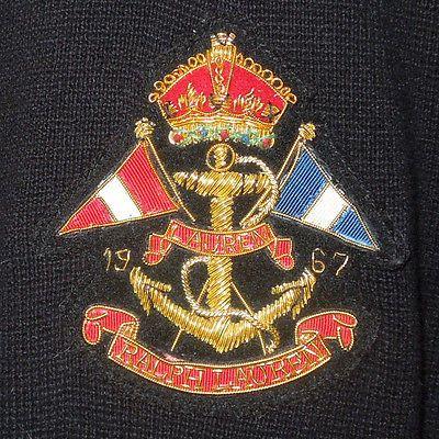 LAUREN Ralph Lauren Flag & Anchor Crest Cotton Knit Blazer Jacket Black L