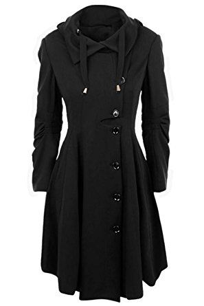Seaselfie Women's WaistedHooded Slim Trench Cloak Jacket Coat