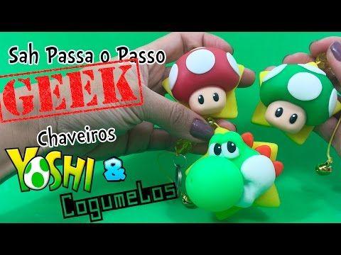 DIY - Chaveiros Yoshi e Cogumelos em BISCUIT - Sah Passa o Passo GEEK - YouTube