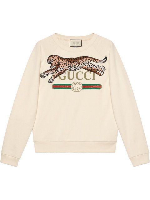 efac115d8 Gucci Gucci Logo Sweatshirt With Leopard in 2019 | Gucci | Gucci ...