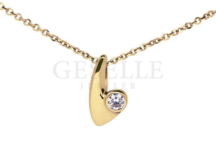 Elegancka zawieszka z klasycznego, żółtego złota z okrągłą cyrkonią