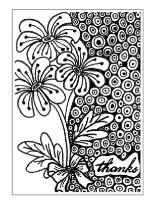 Zentangle inspired / Doodle Small Thank you by MarylinesCrafts, $3.50