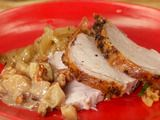Pork loin (I used boneless) baked in cider, delicious garlic rosemary glaze