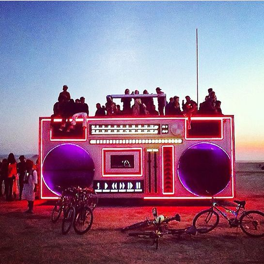 15 Burning Man Instagrams That Prove FOMO Is Very, Very Real #refinery29 http://www.refinery29.com/2014/08/73755/burning-man-2014-pics#slide-3 You know, sometimes a regular 'ol boombox just doesn't do the trick.