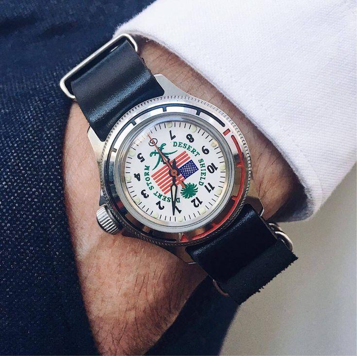 """Vostok vintage watch """"Desert Storm"""", Soviet Watch, Military watch, Men's watch, Vintage mens watch, mens watches, USA Watch, """"Desert Shield"""" by ClueAuthenticBrand on Etsy https://www.etsy.com/listing/543170076/vostok-vintage-watch-desert-storm-soviet"""