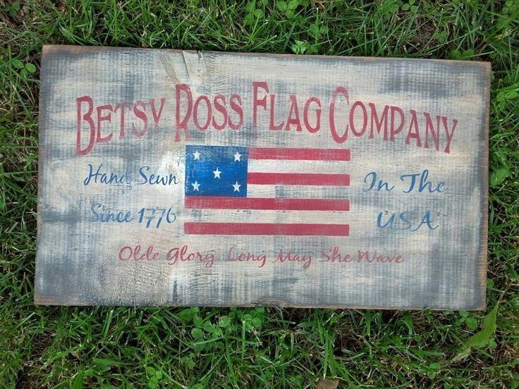 20 Long Primitive Betsy Ross American Flag Wood Sign Rustic Folk Art Home Decor Naiveprimitive