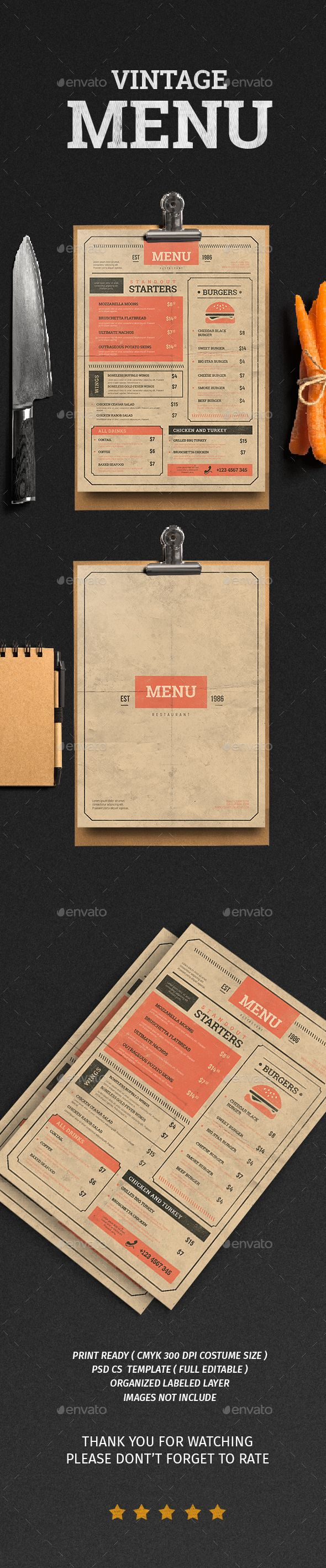 Vintage Food Menu Template PSD