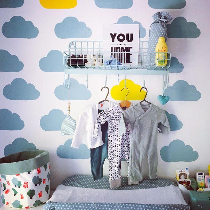 Mint and yellow baby room. Cut out the clouds to make a mold and paint them on the wall.    Babykamer in mint #flexa vintage blue en geel #lief. Maak een mal met wolken en verf ze op de muur.  Stoffen mand #dilleenkamille Aankleedkussenhoes en kruikzak #Jollein Kleding #Noppies #prenatal bakje #ikea Wandrek #kidsdepot Poster You are my home #vtwonen Hartje #gehaakt #haken #zwitsal.   #kids #baby #diy #deco  Bekijk deze Instagram-foto van @eric_a_