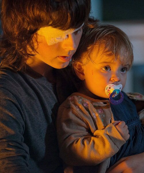 The Walking Dead Season 6 Episode 10 'The Next World' Carl and Judith Grimes
