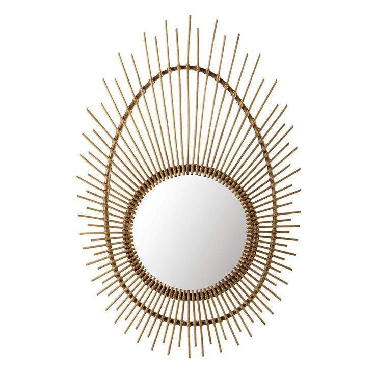 Miroir en osier naturel H 125 cm ROZANA