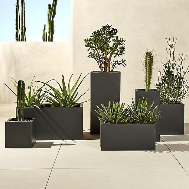 Blox Rectangular Galvanized Charcoal Planters