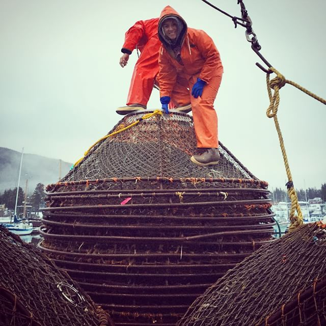 Crabbing and climbing on pots out in Alaska!
