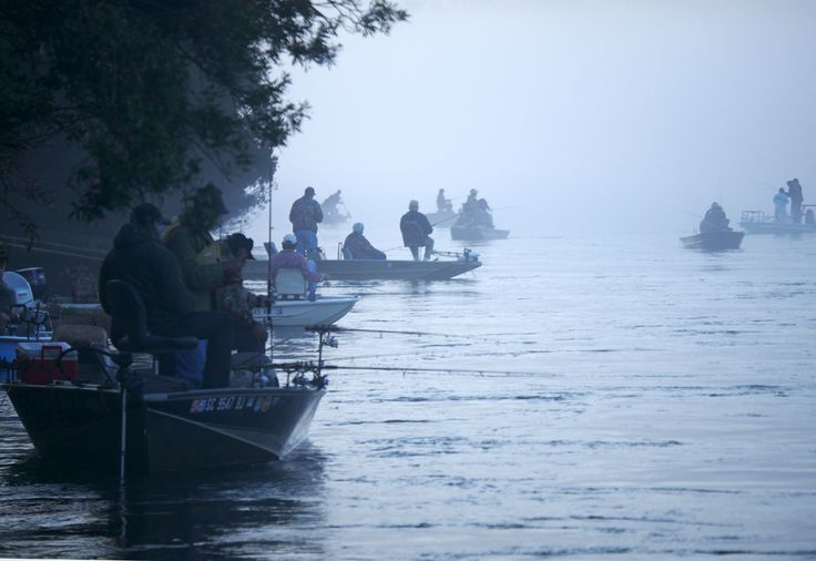 Boats in Fog  Tailrace Tarpon - Shad run in South Carolina