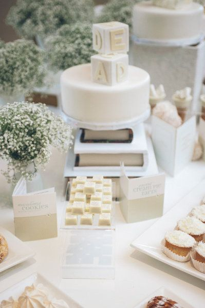 all white baby shower - love the babies breath!