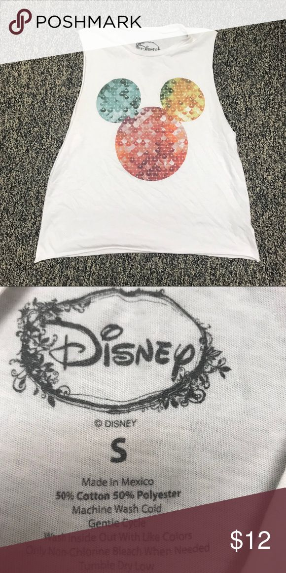 Mickey Mouse Tank Top White tank with different colors inside the head shape. Fake sequence design. Size small. Disney Tops Tank Tops