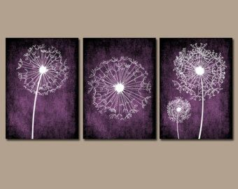 DANDELION Wall Art Purple Plum Bedroom Canvas or by TRMdesign