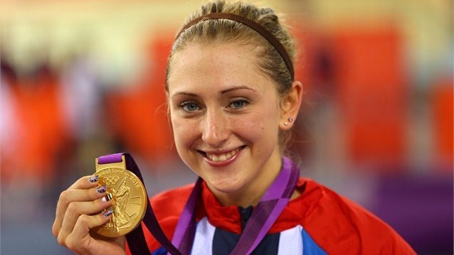 Laura Trott of Great Britain celebrates her 2nd gold medal