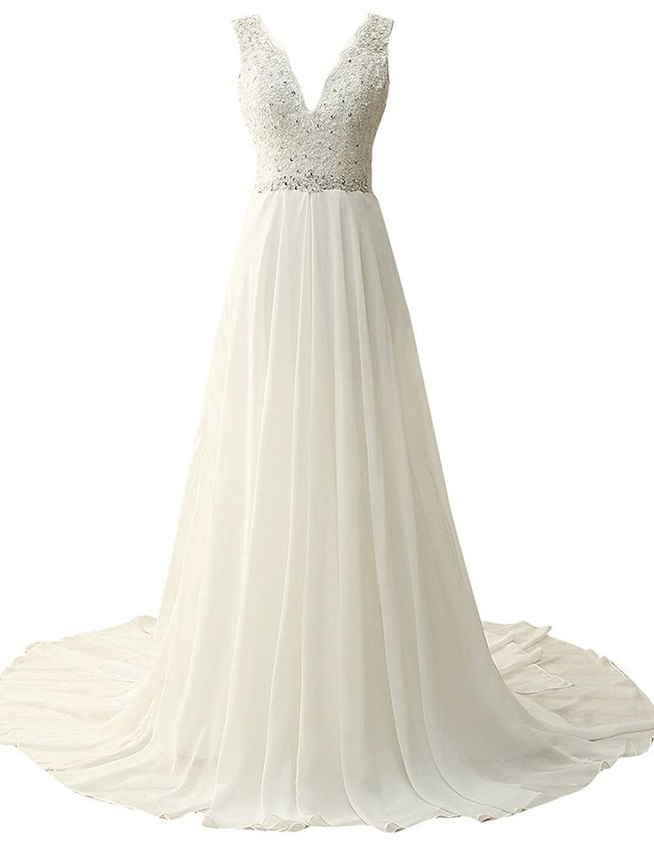 JAEDEN V Neck Appliqued Bridal Gown Chiffon Beach Wedding Dresses for Bride >> See this awesome image  : Wedding Dresses