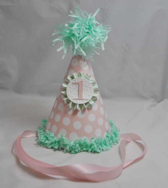 Pink And Mint Green Birthday Hat 1st Girl Personalized Party First Photo Prop Decor Smash Cake