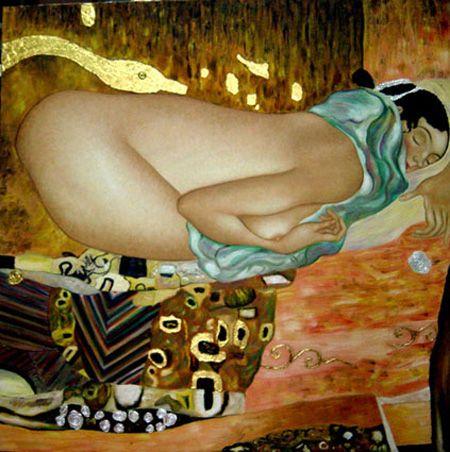 Leda by the great Austrian Art Nouveau painter Gustav Klimt (1862–1918).