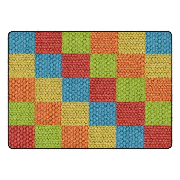 Flagship Carpet Kids Nylon Cozy Basketweave Blocks Classroom Seating Rug, Multi – 6′ x 8'4″ – 6′ x 8'4″, Multicolor