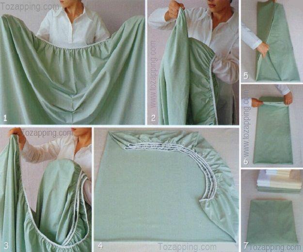 Cómo doblar sábana bajera ajustable Esta técnica es para que puedas guardarlas perfectamente en el armario junto a tus otras sábanas sin que ocupen mucho