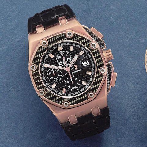 Audemars Piguet. An 18K rose gold and carbon fibre automatic calendar chronograph wristwatch  Royal Oak Offshore Juan Pablo Montoya, Edition No.265/500, Circa 2002