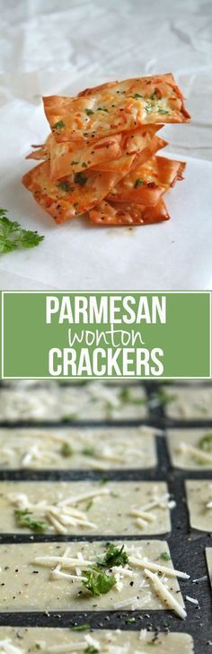 Parmesan Wonton Crackers - easy and healthy alternative to potato chips! #ParmesanWontons #WontonCrackers