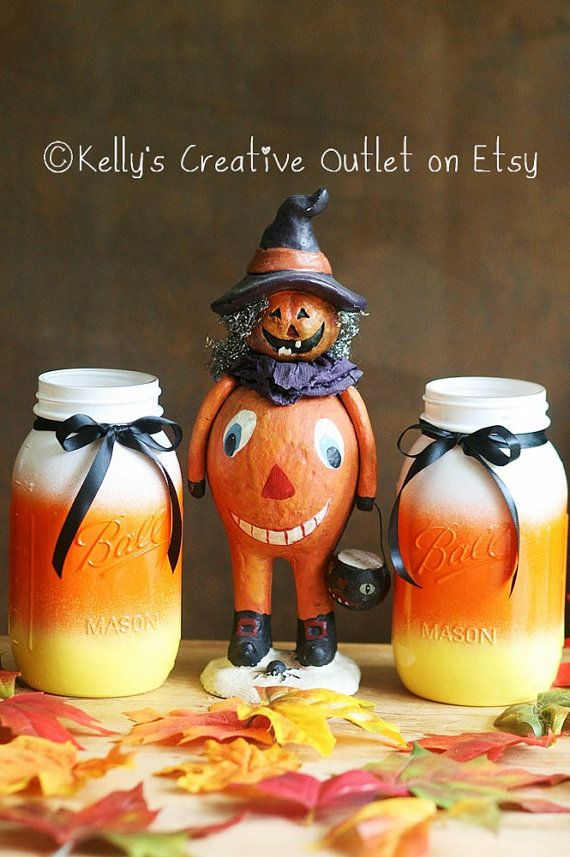 Painted candy corn mason jar Centerpiece by KellysCreativeOutlet - Painted candy corn mason jars. These jars are so adorable and will add a touch of whimsy to each and EVERY Halloween display.