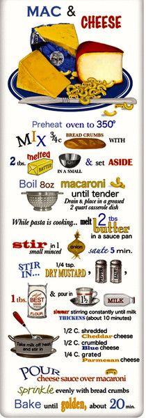 Macaroni and Cheese Recipe 100% Cotton Flour Sack Dish Towel Tea Towel