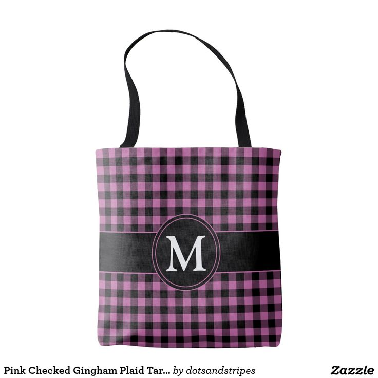 Stylish Pink Checked Gingham Plaid Tartan Pattern Tote Shopping Bag With Personalized Monogram