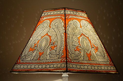Dual Peacock Pattern Large Lamp shade, Orange Floor Lamp, Large Lampshade.