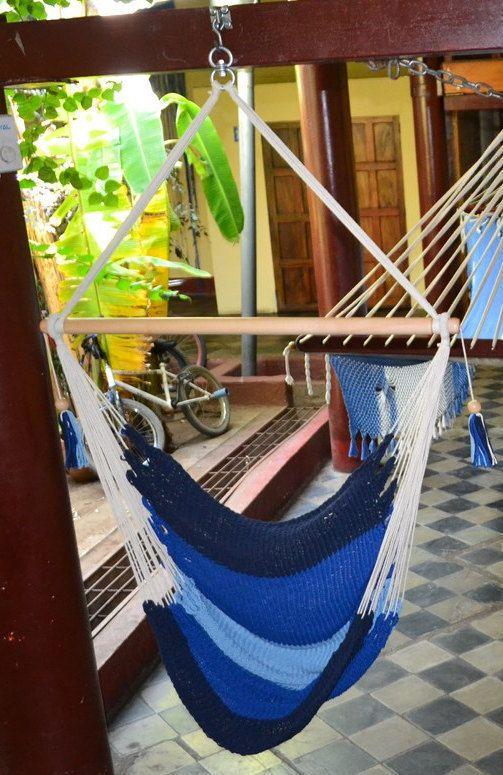 Hanging Chair Sitting Hammock Blue Stripes Porch Swing Cotton Indoor/Outdoor 100% Handmade Mission Hammocks