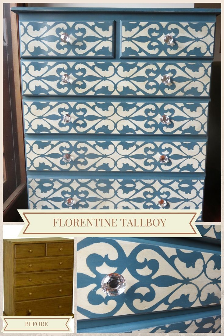 Plain pine tallboy finished in Abusson Blue and Old White chalk paint. Stencilled with Florentine pattern and finished with crystal handles.