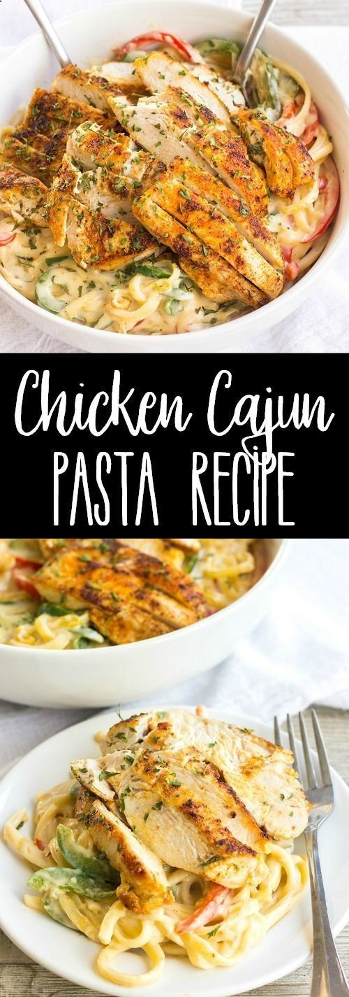 Creamy Chicken Cajun Pasta Recipe is a 30-minute meal with a kick! This easy pasta recipe is great for busy weeknights and has layers of flavor youll love! via Julie | Bread Booze Bacon