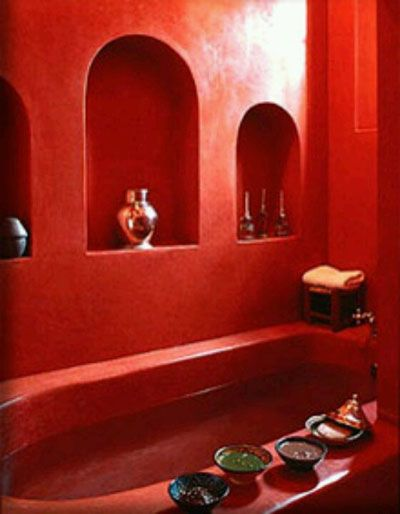 This bathroom was made for me... beautiful RED!
