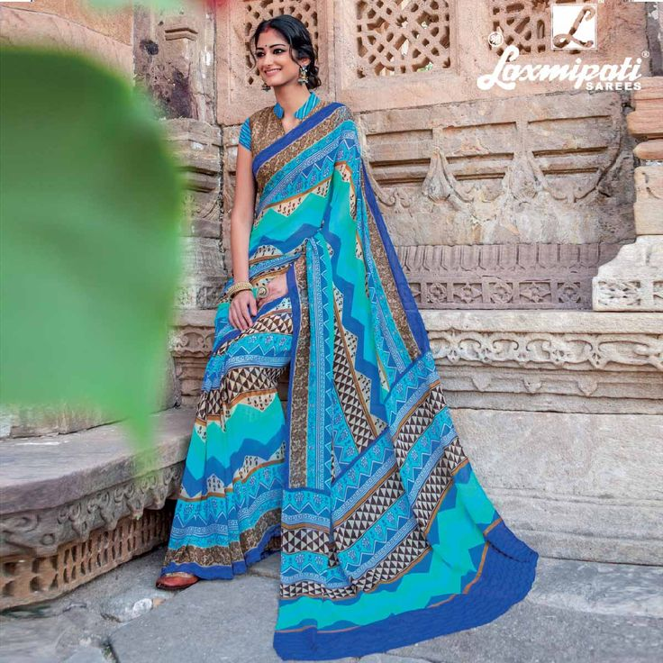 Be a wodge of poise with this beautiful #collection of Multicoloured #Georgette #Saree by #Laxmipati Saree. This variety will fill your presence with flamboyance. This variety with on-#fashion #styles will be a value adding to your #cloth cabinet. #Shopnow #Couture #Glamour #Style #womens #Bollywood #Wedding #Season #Collection #GEETIKA0416