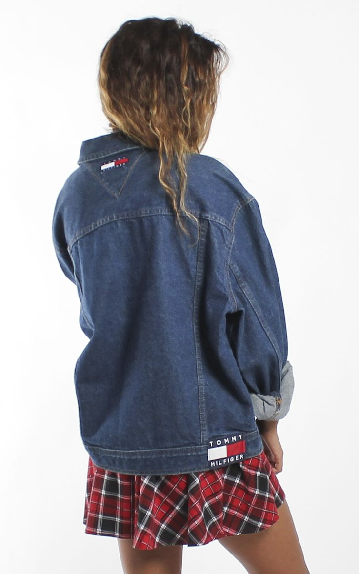 vintage tommy hilfiger denim jacket vintage tommy. Black Bedroom Furniture Sets. Home Design Ideas